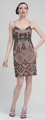 Black & Rose Beaded Scalloped Fitted Short Flapper Dress