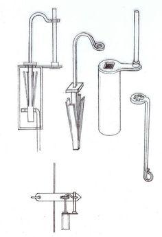 Sketch of a Viking-Era padlock with springs and turning key