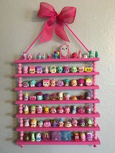 This Shopkins display regal is perfect for storing some of your littlest toys! This Shopkins display regal is perfect f. Little Girl Bedrooms, Kids Room Organization, Playroom Ideas, Toy Rooms, Kids Rooms, Display Shelves, Storage Shelves, Girl Room, Dollar Stores