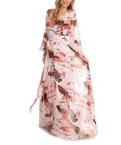 Pink & Cream Surplice Bishop-Sleeve Maxi Dress - Plus Too