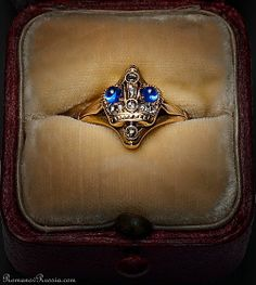 Antique Russian Imperial CROWN RING c.1900, rose gold, sapphire, diamond. Marked with 56 zolotniks standard  with initials ' ЯЛ ' for St Petersburg assay master Yakov Liapunov (1899-1903).