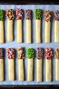 Skip the cutout cookies in favor of a quick and easy recipe for sugar cookie sticks dipped in chocolate and studded with sprinkles.