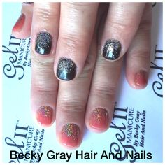 Gel II manicure heat wave with magpie glitter Amelia on the tips beautiful colour changing nails