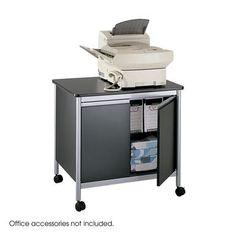 Safco Office Storage Cabinet Deluxe Machine Stand, Black-BL