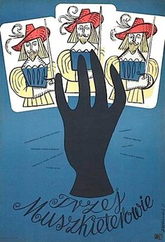 """Polish Poster by Jerzy Srokowski, 1955, """"The Three Musketeers"""" directed by A. Hunebelle."""