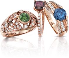 Colored Diamonds from #Alberto! #red #green #blue #color #rings #jewelry #diamonds