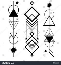 Abstract mystic sign with geometric shapes, triangles, arrows, circles, dots and other symbols. Vector linear illustration of magic craft. Modern, elegant, simple tattoo art
