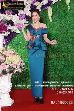 Cambodia dress African Wedding Attire, African Attire, African Wear, African Print Dresses, African Fashion Dresses, African Dress, Traditional Fashion, Traditional Dresses, Myanmar Traditional Dress