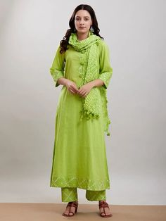 The Loom- An online Shop for Exclusive Handcrafted products comprising of Apparel, Sarees, Jewelry, Footwears & Home decor. Cotton Suit, Cotton Pants, Salwar Designs, Indian Ethnic Wear, Churidar, Green Cotton, Indian Outfits, Baby Dress, 3 Online