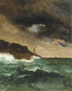 "Alfred Stevens ""Lighthouse at dusk"""