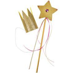 Kimalteisesta softiksesta tehty kruunu ja kimallepaperista ja puukepistä tehty taikasauva.