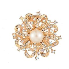 YiYi Operation Imitation Rhinestone Clear Faux Pearl Bridal Corsage Brooches Pins >>> Check this awesome product by going to the link at the image. (This is an affiliate link) #NiceJewelry