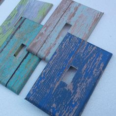 Switchplate Outlet Cover Distressed Wood Blue Aqua by ArtZodiac