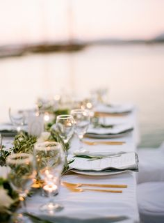 Romantic reception table for a destination wedding in greece.