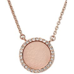 Michael Kors Rose Gold-Tone Blush Necklace in rose, Jewellery ($115) ❤ liked on Polyvore featuring jewelry, necklaces, rose, circle pendant necklace, thin chain necklace, glitter necklace, chains jewelry and lock chain necklace