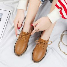 Fast Send Women Oxford Flat Spring Shoes For Woman Genuine Leather Flats Vintage Laces Loafers Casu - Juscricket Footwear On Shoes, Flat Shoes, Shoes Sneakers, Leather Brogues, Leather Shoes, Oxford Flats, Patent Shoes, Derby Shoes, Sneakers For Sale