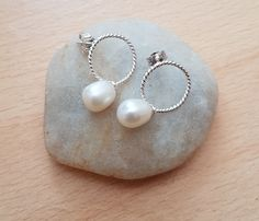 Pearl earrings, Drop earrings, Silver earring, Gift for her, Teenager jewellery, Female earring, Cultured pearl earring, White pearl earring by SweetgemsDesign on Etsy