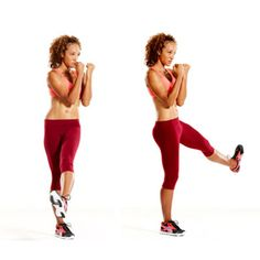 Mix-and-Match Boxing Moves for a Better Body: Crescent Kick (Legs and butt) - A) Stand with feet hip-width apart, knees slightly bent, fists up. Twist at waist, lift left leg to point toes to the right. Kick up and over toward the left in a half-moon shape. B) Lower leg to tap left toes, then raise again and kick it up and over to the right; that's 1 rep. Do 10 reps, then switch sides and repeat. [see more >> www.pinterest.com/amorefitness]