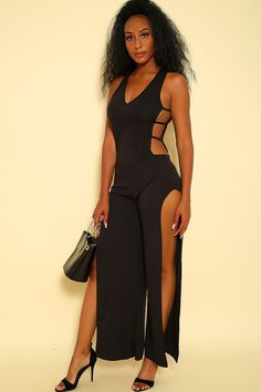 d88ed3cf1be Sexy Black Sleeveless Strappy Accent Dressy Jumpsuit
