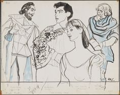 William Auerbach-Levy (1889-1964). [Richard Waring, Richard Eton, Inga Swenson, and Will Geer in The Winter's Tale.] ca. 1958 #illustration #vintage #stage #thewinterstale #williamshakespeare