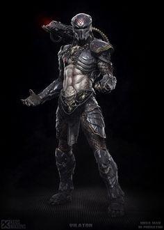 Vilator - Mega Man meets Predator by shocksplash Predator Costume, Predator Mask, Predator Alien, Arte Alien, Alien Art, Alien Concept Art, Armor Concept, Fantasy Character Design, Character Art