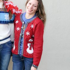 Snowmen In Top Hats Tacky Ugly Christmas Sweater