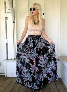 Sunglasses, Necklace, Bluejuice Australia Crop Top, Vintage Belt, Bluejuice Australia Maxi Skirt