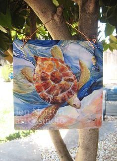 Sea Turtle weatherproof art by JenNortonArtStudio on Etsy, $45.00