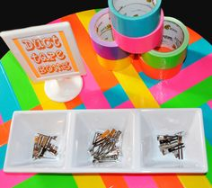 """Table decor Photo 8 of 12: Neon-80s inspired / Birthday """"Neon Duct Tape"""" 