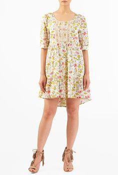 I <3 this Lace trim floral print cotton shift dress from eShakti