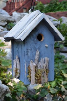 Rustic Birdhouse Handmade Woodworking Driftwood Moss Hand Painted Chickadee Wren House Birds Lawn Ornament Yard Art Garden House and Home Bird Houses Painted, Bird Houses Diy, Bird House Feeder, Bird Feeders, Wren House, Bird Crafts, Yard Art, House Painting, Beautiful Birds