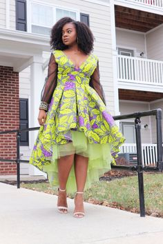 Hi-Low and Maxi Dress Styles. Lined with tulle for extra skirt flare. Multiple Patterns/Colors Available. Check out our Kente crossbody and duffle bags! African Wedding Dress, African Print Dresses, African Print Fashion, African Fashion Dresses, African Dress, African Clothes, Ankara Fashion, African Lace, Africa Fashion