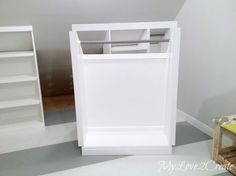 MyLove2Create, Slanted Wall Built-ins, showing middle section rolled out- Great ideas for closet built-ins using Kreg