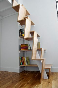 Staircase Design Ideas - When it comes to renovating a home, probably you just focus on the most-used areas such as bedroom, kitchen, and bathroom. Therefore, you neglect your staircase. That's why I've had pretty staircase design ideas to inspire you. Space Saving Staircase, Loft Staircase, Staircase Design, Staircase Ideas, Stair Design, Steep Staircase, Attic Stairs, Modular Staircase, Staircase Remodel