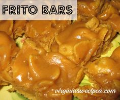 Frito Bars. Yeah, you heard that right, Frito Bars.   A cookie made from Frito??  Sound strange? Maybe a little disgusting? You NEED to try these, they are some kind of good! Here's what you need:  A bag of Fritos, 1 cup of sugar, 1 cup of Karo syrup, and 1 cup of peanut butter.