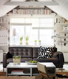 Wohnzimmer Design Ideen IKEA braunes ledersofa