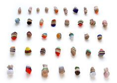 Beppe Kessler. Brooches: Every Day series, 2013. Balsa wood, acrylic fibre, acrylic colour, varnish.