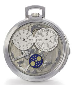 Patek Philippe: A rare white gold open-faced minute repeating perpetual calendar watch with moon-phases, ref. 844, made in 1973