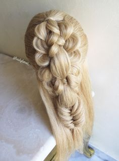 Braided bubble pull through into fishtail braid