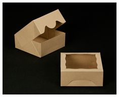 "2506 - 6"" x 6"" x 2 1/2"" Brown/Brown with Window, Timesaver Box With Lid"