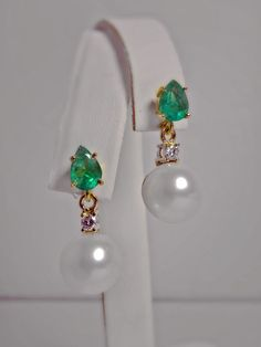 Natural Emerald Diamond Pearl Dangle Earrings 18K Gold Gorgeous | eBay