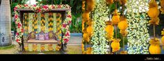 Couple's royal abode decorated with clustered fresh flower arrangement and ornamentive strings made with faux flowers, beads and balls wrapped in mustard cloth