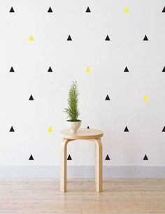 Black and Yellow Triangles Wall Patterns by LittleStickerBoy