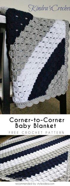Corner-to-Corner Baby Blanket Free Crochet Pattern #freecrochetPatterns #crochetafghan #freecrochetPatternsforafghan #freecrochetPatternsforblanket #crochetstitch #freecrochetPatternsforthrow #c2cbabyblabket
