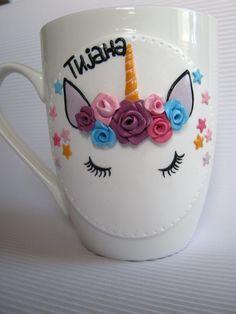 Decorated mug,magic Unicorn,Unique tea cup,birthday Mug,decor Funny mug,Children Tea party,Handmade,Personalized mug,polymer clay,funny gift