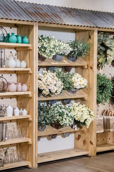 Summer at Magnolia (Magnolia Homes) Flower Shop Decor, Flower Shop Design, Flower Shop Displays, Gift Shop Displays, Vintage Store Displays, Market Displays, Retail Displays, Merchandising Displays, Window Displays
