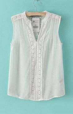 V-Neck White Chiffon Tank Top                                                                                                                                                                                 Mais