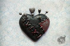 Voodoo doll loveheart brooch Handmade from by TheArkanaWorkshop