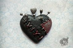Voodoo doll loveheart brooch  Handmade from by TheArkanaWorkshop