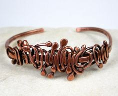 Copper Cuff Bracelet- Featuring Free Form Forged Copper- Scrolling Wood Vine